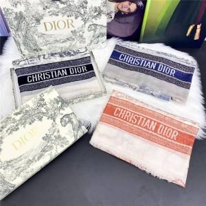 DIOR香港官网迪奥代购原单新款印花女士羊绒长围巾披肩