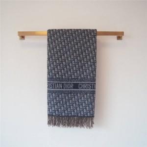 DIOR中国官网迪奥原单女士蓝色羊毛和羊绒混纺 Oblique 印花披肩围巾