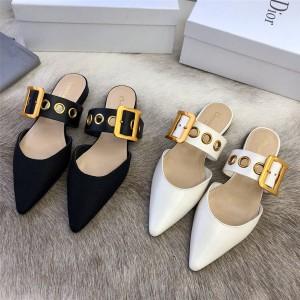 迪奥香港官网新款女鞋奢侈品代购网D-Dior 芭蕾穆勒鞋半拖鞋KCB607