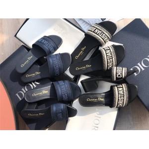 dior中国官网迪奥新款Dway Christian刺绣棉质凉鞋粗跟拖鞋KCQ166/KCQ244