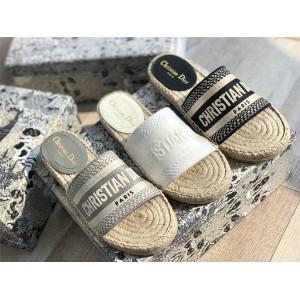 dior法国官网迪奥世界奢侈品牌OBLIQUE图案提花刺绣帆布草编渔夫鞋拖鞋