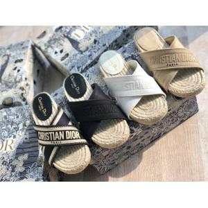 迪奥dior官网奢侈品专卖Granville 穆勒鞋交叉渔夫拖鞋KCQ392