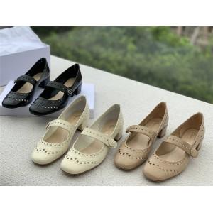 dior法国官网迪奥正品女鞋布洛克镂空雕花复古玛丽珍中粗跟皮鞋单鞋