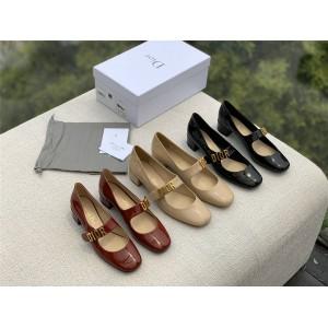 dior法国官网迪奥原单漆皮LOGO装饰绑带复古玛丽珍中粗跟单鞋皮鞋芭蕾鞋