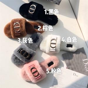 dior欧洲官网迪奥原单代购新款女士皮毛一体羊皮CD扣半拖鞋