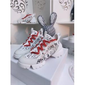 迪奥官网七夕情人节D-CONNECT DIORAMOUR 涂鸦图案运动鞋KCK248