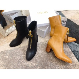 迪奥dior官网代购EFFRONT金属前拉链靴子中筒粗跟女靴
