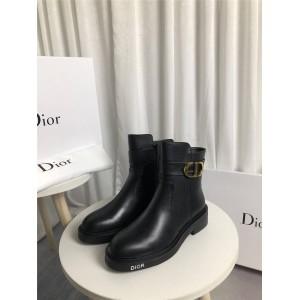 dior欧洲官网迪奥代购原单女士新款CD扣真皮女靴套脚短靴