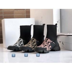 DIOR迪奥官网女靴奢侈品代购D-CONNECT袜子靴印花字母短靴