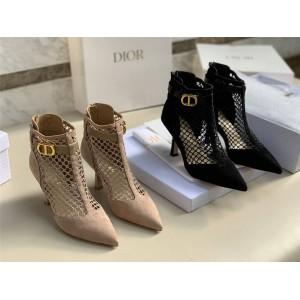 迪奥官网正品奢侈品代购网站网面镂空DIOR-I 带跟及踝靴KDI630