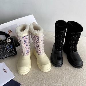 DIOR迪奥美国官网代购新款女靴套脚厚底保暖羊毛靴圆头短靴
