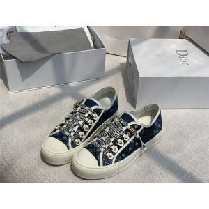 迪奥官网代购正品新款牛仔布刺绣帆布WALK'N'DIOR 运动鞋