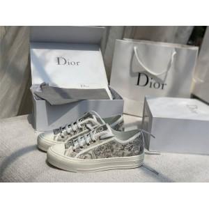 迪奥官网专柜正品女鞋灰色老虎刺绣帆布WALK'N'DIOR 运动鞋