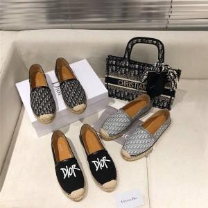 dior美国官网迪奥代购男女Oblique 印花PARADISE 草编鞋渔夫鞋3SA088