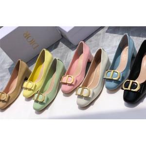 DIOR迪奥官网店代购新款女鞋女士粗跟CD扣单鞋高跟鞋