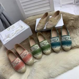 迪奥香港官网代购DIOR OR DIOR GRANVILLE 草编鞋渔夫鞋KDB585