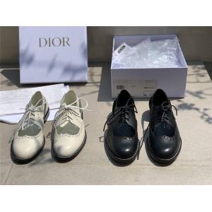 DIOR迪奥官网代购新款布洛克蕾丝雕花系带镂空平底鞋小皮鞋