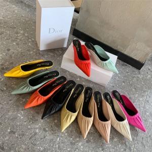DIOR迪奥官网原单正品奢侈品代购网站女鞋真皮尖头穆勒鞋高跟半托鞋