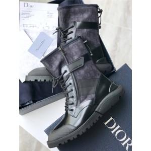 Dior/迪奥中文官网男靴3D印花真皮拼接老花高帮中筒短靴