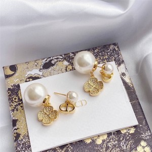 DIOR迪奥官网中国最大奢侈品网站Tribales四叶草珍珠耳环