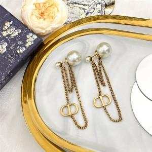 DIOR迪奥正品官网奢侈品代购CD字母长链条珍珠耳环
