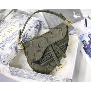 DIOR迪奥官网代购女包新款saddle系列迷彩刺绣帆布马鞍包M0446