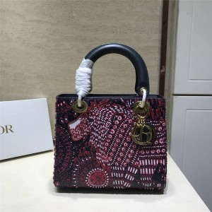 迪奥官网代购包包LADY DIOR ANIMALS中号珠珠刺绣牛皮五格戴妃包