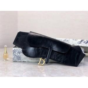dior上海专卖店迪奥官网新款女士腰带SADDLE黑色羊皮革皮带腰包B0049