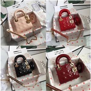 DIOR香港官网迪奥专卖店经典款菱格漆皮三格mini lady戴妃包3格手提包