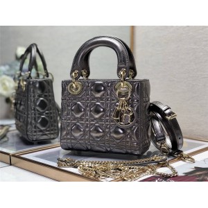 dior美国官网迪奥奢侈品包包论坛Lady Mini经典款金属色三格戴妃包手提包