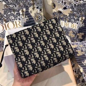 dior中文官网迪奥奢侈品打折网Oblique系列帆布小号拉链手拿包S5411