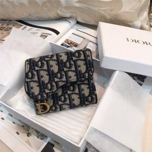 DIOR迪奥官网奢侈品网站女士短款Oblique印花马鞍LOTUS三折钱包S5652