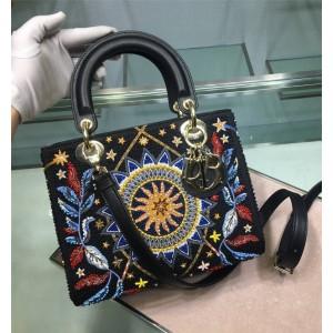 DIOR迪奥中文官网奢侈品购物网站Lady五格刺绣星月珠子戴妃包手提包
