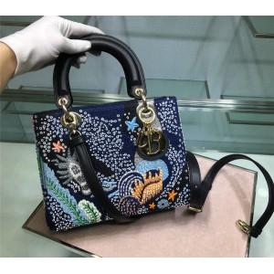 DIOR迪奥中国官网奢侈品代购网Lady五格刺绣海底世界戴妃包手提包