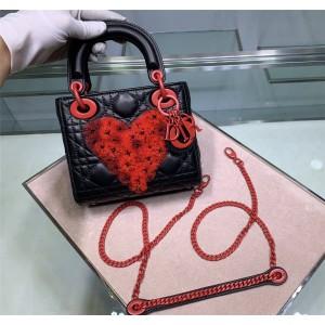 DIOR迪奥官网原单奢侈品购物网Lady三格刺绣珠纱心形mini手提包戴妃包
