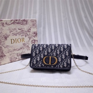 dior中国官网迪奥原单30 MONTAIGNE二合一手拿包Oblique腰包S2086