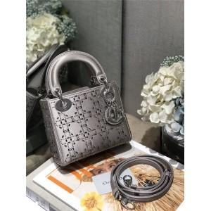 DIOR迪奥中国官网全球奢侈品迷你LADY手袋缎面丝绸水晶三格戴妃包M0500