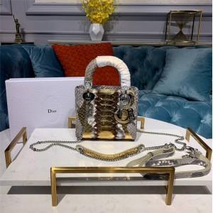 dior官方网站迪奥奢侈品网经典款蟒蛇皮三格戴妃包LADY迷你手提包
