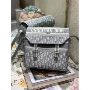 DIOR迪奥官网原单正品灰色Oblique印花DIORCAMP 手袋邮差包M1291