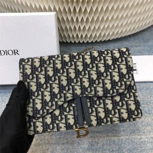 dior官方网站迪奥奢侈品购物网Dior Oblique印花马鞍链条手拿包S5620
