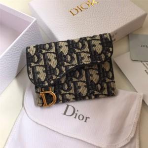 DIOR迪奥官网新款奢侈品网站女士短款Oblique印花马鞍卡包S5610