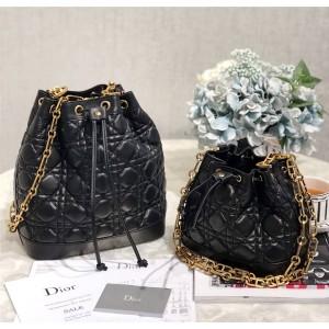 Dior/迪奥代购中文官网女包新款抽绳链条斜跨单肩水桶包