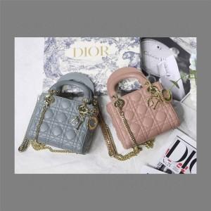 dior美国官网迪奥专柜新款戴妃包3格三格豆沙粉LADY迷你手提包