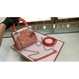 dior中文官网迪奥新款专柜包包️Lady3格三格刺绣橙色小珠子迷你戴妃包