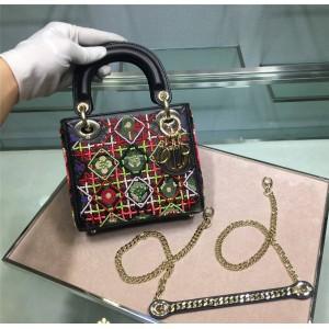 dior法国官网迪奥新款原单包包️Lady3格三格刺绣格子花朵小号MINI戴妃包