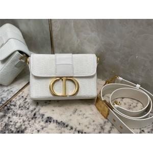 DIOR官网迪奥价格新款白色帆布30 MONTAIGNE 箱型手袋盒子包