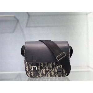 dior中国官网迪奥代购原单新款oblique系列拼皮翻盖邮差包斜挎包