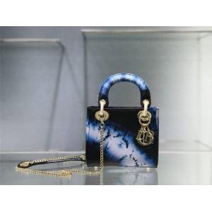 迪奥奢侈品代购原单印花牛皮Tie & Dior 图案迷你 LADY手袋戴妃包M0505