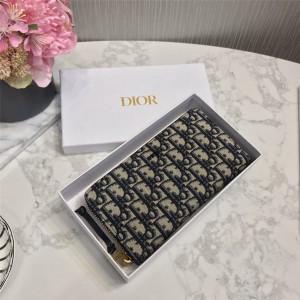dior美国官网迪奥原单正品新款Oblique老花帆布长款拉链钱包