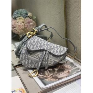 DIOR官网迪奥奢侈品网站灰色Saddle Oblique 刺绣帆布马鞍包M0446